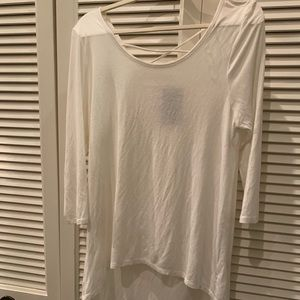 Ivory 3/4 Length Sleeve Top With Cross Back Size L